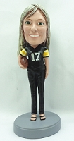 Female Football Player custom bobble head doll