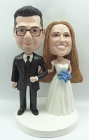 Wedding couple standing arm in arm before the vows custom bobble head doll
