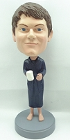 Male in robe with coffee custom bobble head doll 2