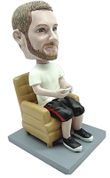 Video Gamer male sitting in a chair custom bobble head doll