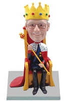 Male king on throne custom bobble head doll