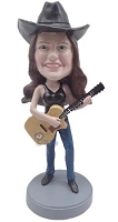 Female guitar playing custom bobble head doll in tank top