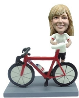 Female Bicycle-Rider custom bobble head doll