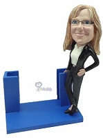 Business Card Holder - Women personalized bobble head doll2