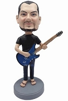 Male guitar player in sandals and jeans custom bobble head doll