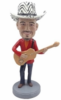 Male guitar wearing jacket and jeans custom bobble head doll