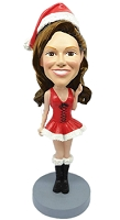 Mrs. Sexy Santa thumbs up custom bobblehead