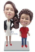Mother Daughter couple custom bobble head doll
