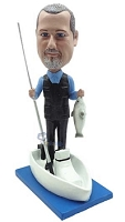 Man in boat fishing custom bobble head doll 2