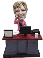 Female Executive at desk custom bobble head doll