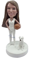 Basketball Player With Dog custom bobbleheadFemale