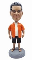 Man in shorts and sandals custom bobble head doll