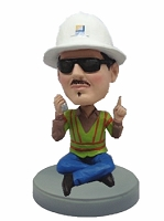 Construction Worker custom bobble head doll Sitting