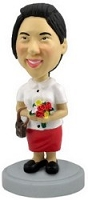 Nice women with flowers personalized bobble head doll