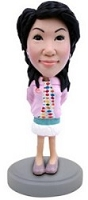 Girl in short dress with a jacket custom bobble head doll