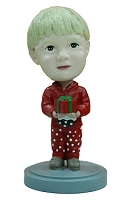 Holiday child with present custom bobble head doll