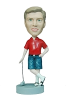 Man Golfer in shorts custom bobble head doll