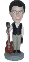 Man standing with guitar custom bobble head doll