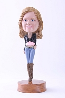 Girl with short top and jeans custom bobble head doll Premium