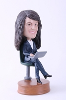 Girl sitting with laptop custom bobble head doll Premium