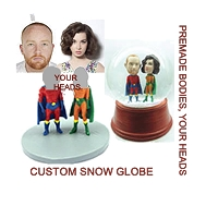 Super hero couple personalized snow globe