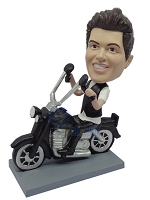 Male sitting on a motorcycle custom bobble head doll 5