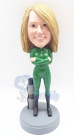 Female scuba diver custom bobble head doll Premium