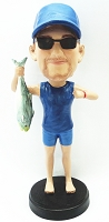 Man holding a fish custom bobble head doll Premium