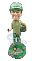 Soldier medic personalized bobble head doll