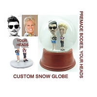 Workout couple personalized snow globe