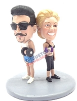 Work out couple custom bobble head doll Premium