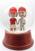 Brothers holding hands couple personalized snow globe