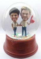 Baseball couple personalized snow globe
