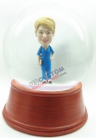 Women nurse with stethoscope and clipboard personalized snow globe