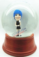 Female singer holding microphone personalized snow globe