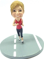 Girl running on the road custom bobble head doll Premium