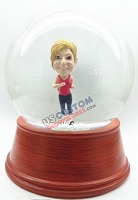 Female jogger personalized snow globe