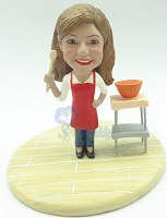 Female chef in the kitchen custom bobble head doll Premium