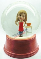 Female baker personalized snow globe