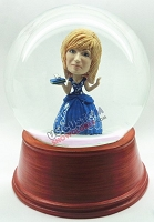 Female in princess gown personalized snow globe