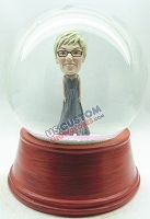 Female with floor length dress personalized snow globe