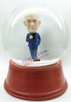 Male Holding Jacket Lapel Open with Legs Crossed - Personalized Snow Globe Figure