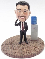 Male executive on phone at the water cooler custom bobble head doll Premium