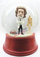 Male doctor with stethoscope and skeleton personalized snow globe
