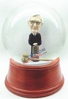 Male judge leaning on chair personalized snow globe