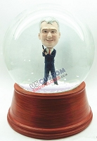 Male secret agent personalized snow globe