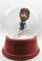 Male jogger personalized snow globe
