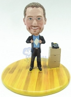 Male holding his shirt open - add your logo custom bobble head doll Premium