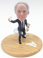 Male holding money custom bobble head doll Premium
