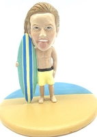 Male surfer at the beach custom bobble head doll Premium